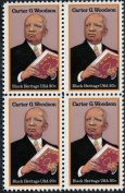 CARTER G WOODSON ~ BLACK HERITAGE ~ BLACK HISTORY ~ RESEARCHER #2073 Block of 4 x 20¢ US Postage Stamps