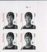 WILMA RUDOLPH ~ BLACK HERITAGE ~ DISTINGUISHED AMERICANS ~ 1960 OLYMPICS ~ SPRINTER #3422 Plate Block of 4 x 23¢ US Postage Stamps