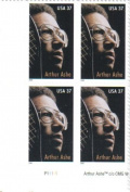 ARTHUR ASHE ~ BLACK HERITAGE ~ WIMBLEDON ~ TENNIS #3936 Plate Block of 4 x 37¢ US Postage Stamps