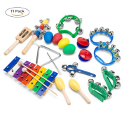 Wonyered Kids 11PCS Musical Instruments Xylophone Percussion Toy Set Preschool Educational Early Learning Rhythm Tools for Boys and Girls Baby with Carrying Bag