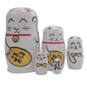 Cute Animal Fortune Cat White Handmade Wooden Russian Nesting Dolls Matryoshka Dolls Set 5 Pieces For Kids Toy Christmas Gifts Home Decoration