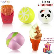 (+1 BONUS) JUMBO SQUISHIES 5pcs |Pack of Kawaii Super Slow Rising | Ice Cream Cone | Peach | Lemon | French Fries | Panda | Cute BONUS Emoji (Random) | Hand Wrist Anti-Stress Soft Toy Set by HAYSTORE