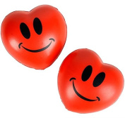 Don't Worry! Be Stress Free 7.6cm Smiley Face Squeeze Stress Relief Heart Shaped Relaxable Balls; Valentines Daty Gifts and Party Favours 1 Dozen Red Hearts