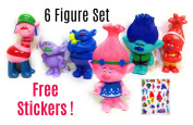 Trolls Figurines Poppy Playset Collectible Toys 6 pcs 7.6cm tall + 3D Stickers by ToysOutlet_USA