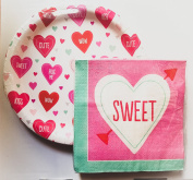 Sweetheart Valentine's Day Paper Plates & Napkins - February Party Supplies for 18 Guests