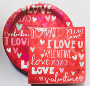 Red Valentine's Day Paper Plates & Napkins - Party Supplies for 18 Guests
