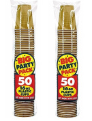 Amscan Big Party Pack 100 Count Plastic Cups, 470ml ecDXdP, Gold