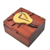 Handmade Wooden Art Intarsia TRICK SECRET light bulb idea Jewellery Puzzle Trinket Box (4596)