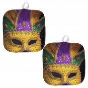 Mardi Gras Mask All Over Pot Holder (Set of 2) Multi Standard One Size