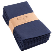 Chateau Easy-Care Cloth Dinner Napkins - Set of 12 Oversized (50cm x 50cm ) - Navy Blue