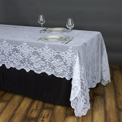 BalsaCircle 150cm x 320cm White Rectangular Floral Lace Tablecloth Table Linens Wedding Party Decorations Kitchen Dining