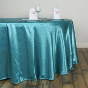 Efavormart 300cm Turquoise Seamless Round Satin Tablecloth Embossed Lily Round Wedding Party Banquet Tablecovers
