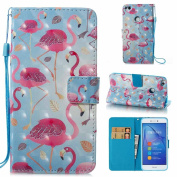 Huawei P8 Lite 2017 Case, COOSTOREEU Cute Funny Colourful Painting 3D Pattern PU Leather Wallet Case for Huawei P8 Lite 2017 ,Flamingo #2