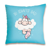 "'Nici 41881 Theodor and Friends Cotton Pillow ""You Can Do It, 37 x 37 cm"