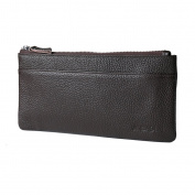 MagiDeal Men Long Wallet Leather Purse Money Clip Multi-Card Slot Zipper Pocket ID Holder - Brown