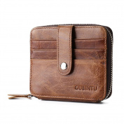 Pomineer Retro Men's Leather Coin Purse with Card Holder Zipper Pouch Wallet