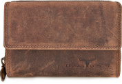 Handmade womens purse Leather wallet landscape format with flap in finest leather with finishing in colours black brown cognac by URBAN FOREST, colour