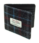 Harris Tweed Mens Mull Cheque Wallet Charcoal
