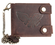 Genuine Leather Biker's Wallet Born To Be Wild With An Eagle With Long Metal Chain To Hang
