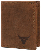 KRYPT 'Billy the Bean' RFID-blocking genuine buffalo leather wallet in vintage style - RusticBrown