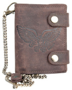 Brown Genuine Leather Biker's Wallet with An Eagle And Long Metal Chain To Hang