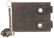 Grey-Brown Genuine Leather Wallet Born to be Ride With Two Buckles And a Chain