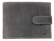 Grey Leather Wallet HL With a Buckle Whole Made of Genuine Leather
