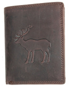 Strong Genuine Leather Wallet Without Fabric Lining With a Deer