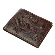 OURBAG Men Genuine Leather Dragon Long Short Wallet Coin Money Card Holder Clutch Horizontal