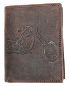 Genuine Leather Wallet Made of Strong Natural Leather with a Motorbike