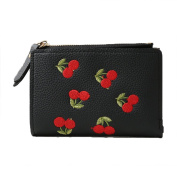 Women Fashion Cherry Embroidered Card Holder Coin Purse Short Bifold Wallet