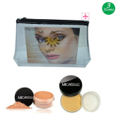 (Bundle of 3 Items)mica Beauty Full Size Foundation Mf5 Cappuccino+face & Body Bronzer+aeroplane Travel Cosmetic Bag