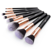 Makeup Brush Set Anjou 8pcs Beauty Brushes with Synthetic and Vegan Bristles, for All Consistencies (Powder, Creams and Liquids) - Rose Gold