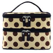 dragonaur Polka Dot Double Layers Zipper Makeup Case Cosmetic Toiletry Storage Bag