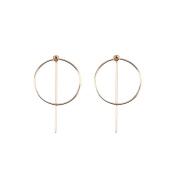 PetHot Circle Earrings Big Size Hoops Statement Bar Dangle Geometric Metal Ring Clip Earbob Jewellery For Women Girl Golden