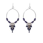 VENI MASEE Fashion Colour Blue Beads Droplets Pendant National Style Earrings Big Circle