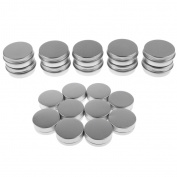 perfk Lots of 20 Pieces 10g 15g Empty Round Aluminium Tin Storage Jar Cosmetics Cream Containers with Screw Top Lids for Candles Balm Salves