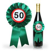 HC Retail 922131 Bottle Bottles Rosette Winner Hanger 50 Birthday Bow 14 x 8 cm