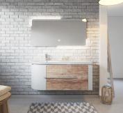 Bathroom cabinet Pablo 120 cm basin nature wood - Storage cabinet vanity unit sink furniture