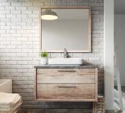 Bathroom cabinet Indiana 90 cm basin nature wood - Storage cabinet vanity unit sink furniture