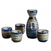 Japanese Ceramic Sake Bottle Cups Sets Sake Flask for Sushi Bar, #03