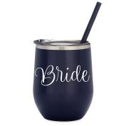 Bride - 350ml Navy Stainless Steel Wine Tumbler