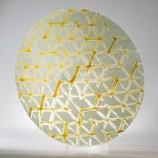 Japanese Shibori Pattern Art Glass Yellow Charger Plate   Platter Serving Large