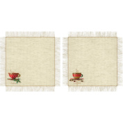 R1640 Tea And Coffee Napkins Counted Cross Stitch Kit-28cm x 28cm 14 Count
