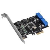 CALISTOUK PCI Express to Dual 20 Pin USB 3.0 PCI-e X1 to 2 ports 19pin USB3.0 Header Support Low Profile Bracket