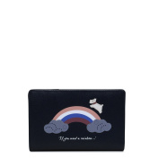 Radley Medium Zip Purse in Navy Leather, 'Rainbow' Design