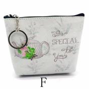 Kolylong Women Girls Afternoon Tea Pattern Coin Purse Lady Leather Small Wallet Clutch Bag Handbag Key Holder