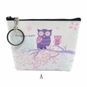 Kolylong Women's Girls Cute Owl Zipper Coin Purse Wallet Leather Handbag Card Holder Billfold Purse Clutch Bag