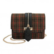 Women Woollen Handle Plaid Gingham Zipper Crossbody Bag, [Handbag Fashion Messenger Bags] Stylish Travel Shoulder Bags