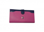 Vanity Women's Chequebook Holder, Cards, Coins, Phone, Genuine Cowhide Leather – New -, rose fushia (violet) - 5267